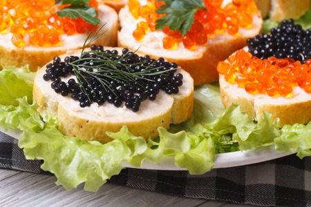 sturgeon: Sandwiches with red and black fish caviar on lettuce macro horizontal   Stock Photo
