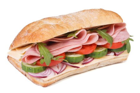 ciabatta sandwich with ham, fresh vegetables and arugula salad isolated on white background horizontal   photo