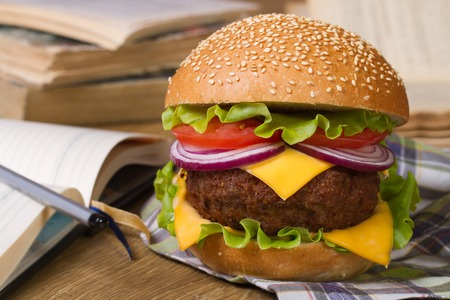 Lunch during study: Fresh big hamburger on a background of notebooks and textbooks. Closeup horizontal  photo