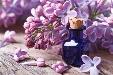 perfume oil: Tincture of aromatic lilac flowers close-up on the table. horizontal   Stock Photo