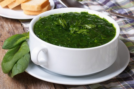 Fresh spinach soup with croutons close up on the table. horizontal  photo