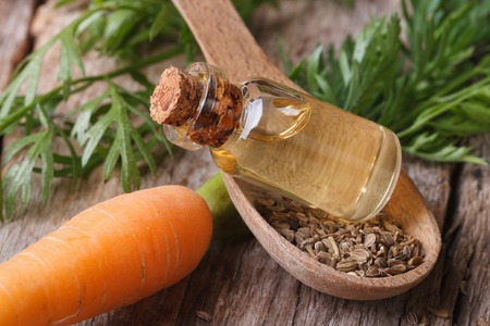 immunity: Useful carrot seed oil in glass bottle on the table close-up  Stock Photo