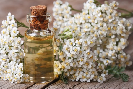 yarrow: Tincture of yarrow in the bottle close-up on a background of flowers on the table.  Stock Photo