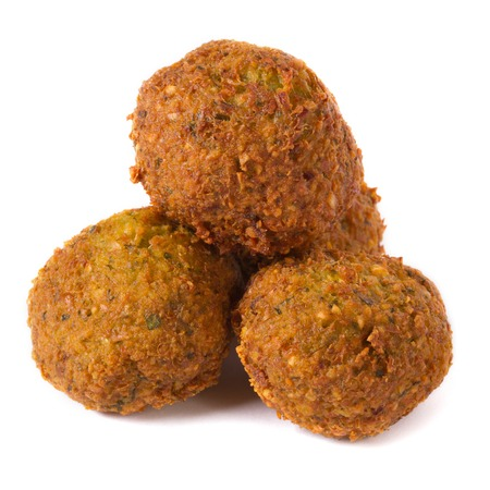 three whole falafel isolated on white background  Stock Photo