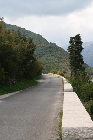 Mountain a narrow asphalt road in Montenegro photo