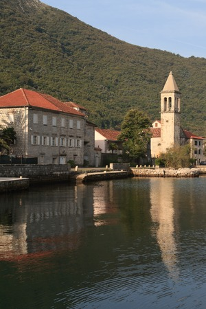 Morning in the fishing village Stoliv in the Bay of Kotor in Montenegro. photo