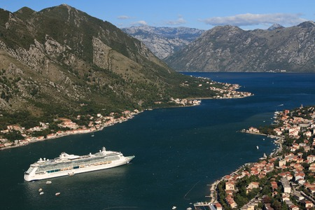 Cruise ship Serenade of the Seas in the Bay of Kotor in Montenegro. September 23, 2014