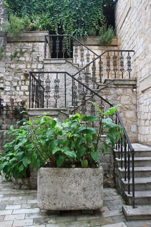 Iron staircase in the old town of Kotor, Montenegro photo