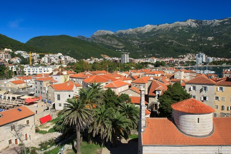 Summer cityscape of the old town of Budva. Montenegro photo