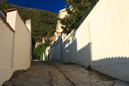 A typical Mediterranean narrow street in the morning. Montenegro photo