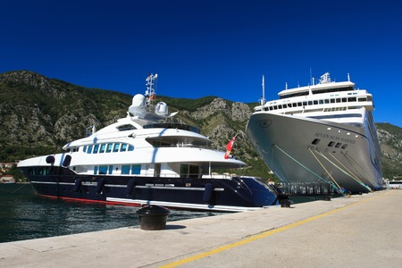 A big yacht and cruise ship Seven Seas Mariner in the port of Kotor. Montenegro, September 28, 2014