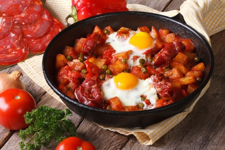 Fried eggs with chorizo on Flemish recipe in the pan. close up horizontal