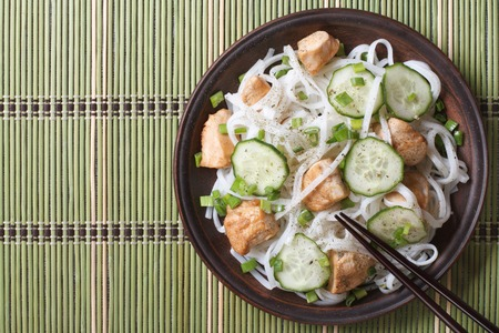 Japanese rice noodles with chicken and cucumbers close-up on a plate photo