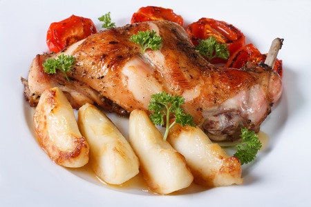 Rabbit leg roasted with apples and tomatoes on a plate close-up. horizontal photo