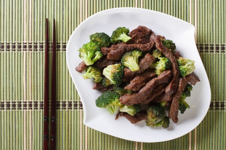 close up food: pieces of beef with broccoli on a plate close-up and chopsticks. horizontal view from above