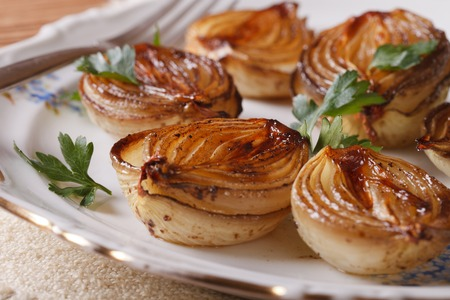 caramelized onions and parsley on a white plate close-up. horizontal