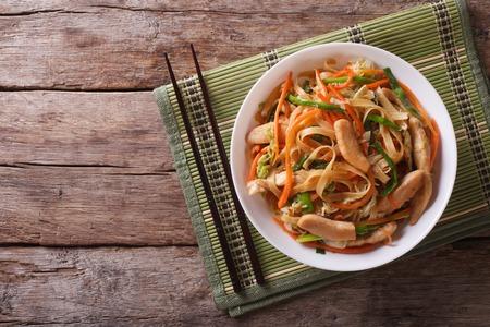 Chow Mein: gebratene Nudeln mit Hühnerfleisch und Gemüse. horizontale Ansicht von oben