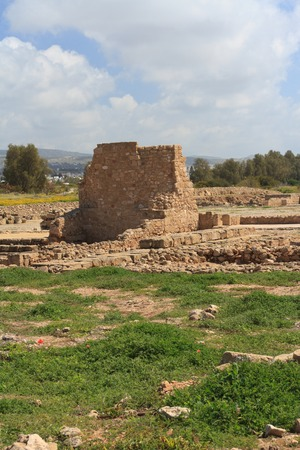 archaeological: Ancient ruins of walls in Paphos Archaeological Park. Cyprus Stock Photo