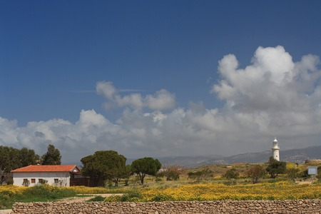 archaeological: Cyprus Paphos Archaeological Park. View of the lighthouse. horizontal Stock Photo