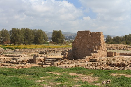 archaeological: Ancient ruins in Paphos Archaeological Park. Cyprus spring