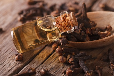 Oil of cloves in the bottle close-up on the table. horizontal, rustic style Stock Photo