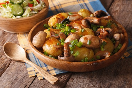 Potatoes with mushrooms close up in a bowl, and salad