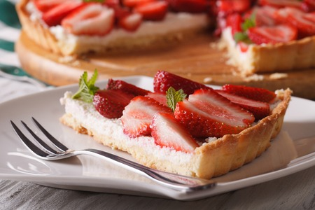a piece of strawberry tart on a plate close-up. horizontal photo