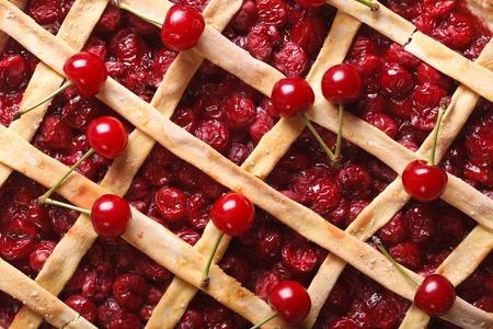 American cherry pie macro background. horizontal view from above photo