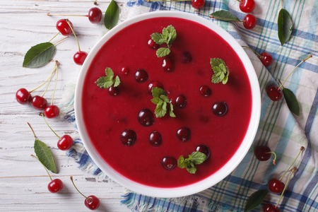 cherry cream soup with mint in a bowl on a table close-up. Horizontal top view