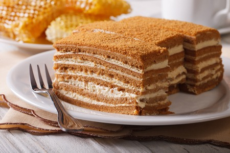 delicious honey cake on a plate close-up on a background of honeycomb