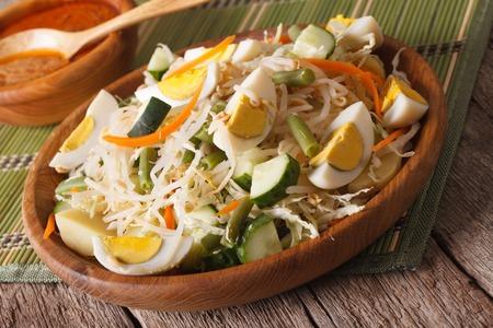gado: Traditional Indonesian salad gado-gado with peanut sauce close-up on the table. horizontal Stock Photo