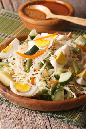 gado: Indonesian salad gado-gado with peanut sauce close-up on a plate. vertical