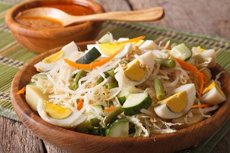 gado: Indonesian salad gado-gado with peanut sauce close-up on a plate. Horizontal