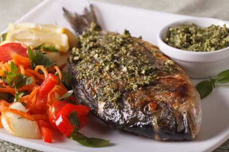 gilthead bream: The gilt-head bream with pesto sauce and fresh salad on the plate closeup. Horizontal