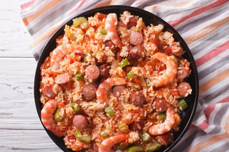 creole: Delicious Creole jambalaya with shrimp and sausage close-up on a plate. horizontaltop view