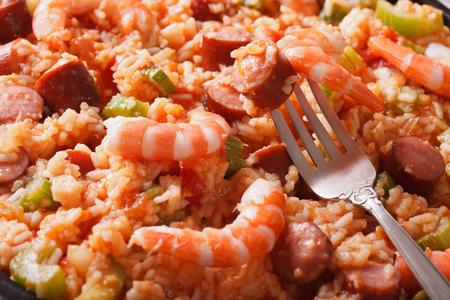 creole: Creole cuisine: jambalaya macro on a plate. horizontal background