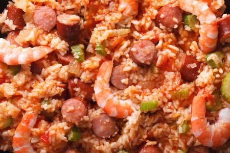 creole: Creole food: macro jambalaya. Horizontal top view above background Stock Photo