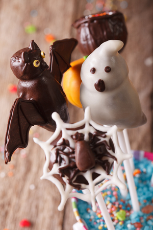 wood spider: Beautiful Halloween cake pop in a bucket on the table macro. vertical Stock Photo