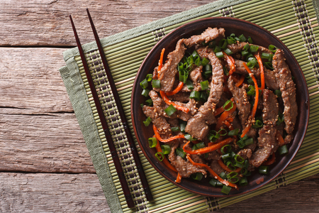 Asian Food: Bulgogi beef slices fried with sesame and carrot on a plate. Horizontal top view