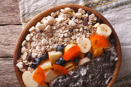 fruit plate: Healthy food: muesli with fruit and chia seeds close-up on a plate. horizontal view from above