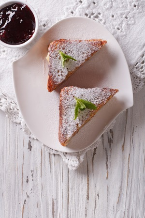 monte cristo: Delicious of Monte Cristo sandwich and jam on the table. vertical top view