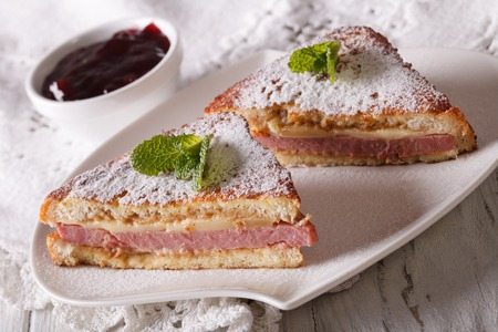 monte cristo: Delicious Monte Cristo sandwich with powdered sugar and mint close-up. horizontal Stock Photo