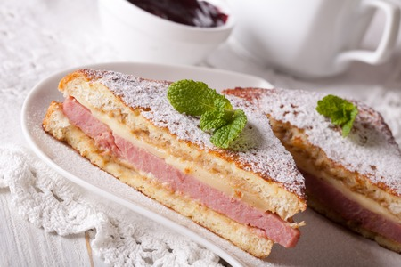 monte cristo: Tasty sandwich of Monte Cristo with ham and cheese close-up on a plate. horizontal