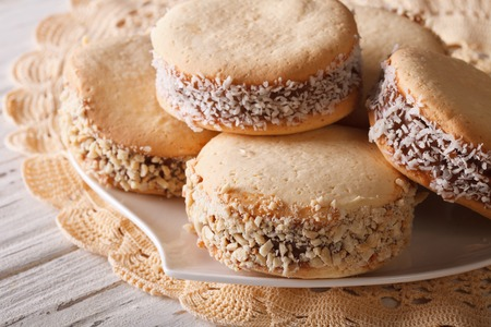 alfajores: Argentine cookies alfajor close-up on a plate on the table. horizontal