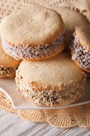 argentinean: Argentinean dessert: cookies alfajores on a plate on the table macro. Vertical Stock Photo