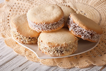 alfajores freshly baked cookies closeup on a plate on the table. horizontal Imagens