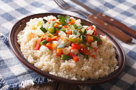 arabian food: Arabian Food: Cous Cous with vegetables close-up on a plate. horizontal Stock Photo