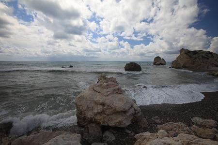afrodita: Chipre, el lugar de nacimiento de Afrodita. Vista mar�tima Foto de archivo