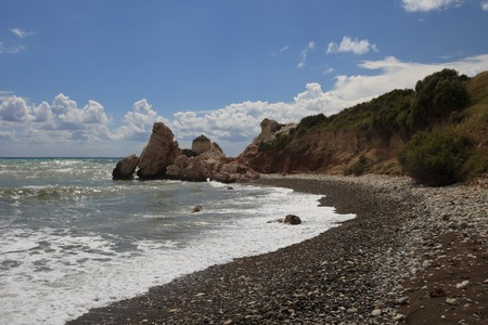 aphrodite: View on the rock of Aphrodite in Cyprus. Afternoon Stock Photo
