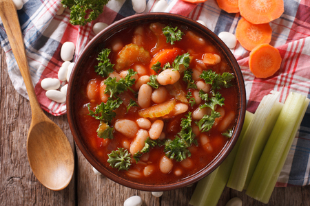 Homemade bean soup, carrots and celery close-up. horizontal view from above Stok Fotoğraf